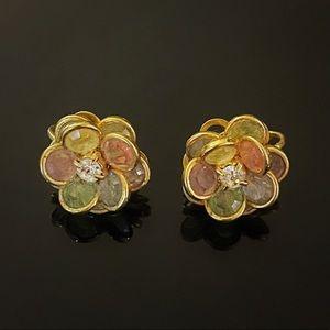 🌸 Stunning VTG Signed Avon Colorful Flower Clip On Earrings